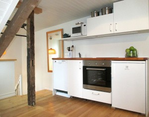 Kitchenette at loft apartment Reykjavik